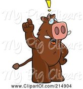 Swine Clipart of Cartoon Big Boar Standing on His Hind Legs, Holding His Finger up with an Idea by Cory Thoman