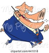 Swine Clipart of Cartoon Big Pig Business Man Talking on a Cell Phone by Toonaday
