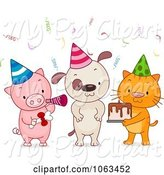 Swine Clipart of Cartoon Birthday Party Animals by BNP Design Studio