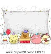 Swine Clipart of Cartoon Birthday Party Animals Under a Banner Sign by BNP Design Studio