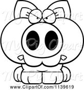 Swine Clipart of Cartoon Black and White Angry Piglet by Cory Thoman