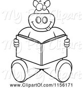 Swine Clipart of Cartoon Black and White Big Pig Sitting and Reading a Book by Cory Thoman