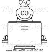 Swine Clipart of Cartoon Black and White Big Pig Using a Computer by Cory Thoman