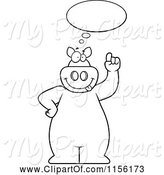 Swine Clipart of Cartoon Black and White Big Pig with an Idea Cloud by Cory Thoman
