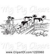 Swine Clipart of Cartoon Black and White Boys Tending to Cattle Chickens and Pigs on a Farm by Picsburg