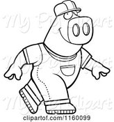 Swine Clipart of Cartoon Black and White Builder Pig Walking by Cory Thoman