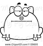 Swine Clipart of Cartoon Black and White Chubby Bored Pig by Cory Thoman