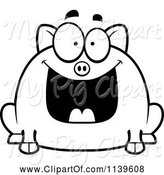 Swine Clipart of Cartoon Black and White Chubby Grinning Pig by Cory Thoman