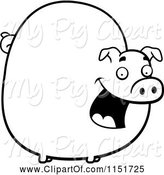 Swine Clipart of Cartoon Black and White Chubby Pig Smiling by Cory Thoman