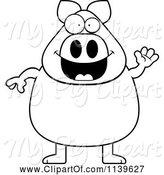 Swine Clipart of Cartoon Black and White Chubby Pig Waving by Cory Thoman