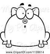 Swine Clipart of Cartoon Black and White Chubby Surprised Pig by Cory Thoman