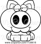 Swine Clipart of Cartoon Black and White Drunk Piglet by Cory Thoman