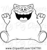 Swine Clipart of Cartoon Black and White Fat Business Pig Sitting and Cheering by Cory Thoman