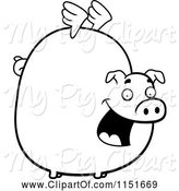 Swine Clipart of Cartoon Black and White Fat Flying Pig with Little Wings by Cory Thoman
