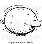 Swine Clipart of Cartoon Black and White Fat Piggy Bank Sticking Its Tongue out by Cory Thoman