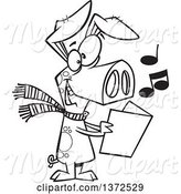 Swine Clipart of Cartoon Black and White Festive Pig Singing Christmas Carols by Toonaday