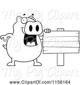 Swine Clipart of Cartoon Black and White Happy Pig by a Blank Sign by Cory Thoman