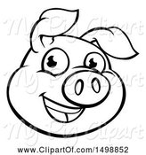 Swine Clipart of Cartoon Black and White Happy Pig Face by AtStockIllustration