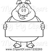Swine Clipart of Cartoon Black and White Happy Pig Holding a Sign Board by Hit Toon