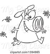 Swine Clipart of Cartoon Black and White Happy Pig Running and Tossing Spring Flowers by Toonaday