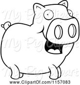 Swine Clipart of Cartoon Black and White Happy Pig Standing by Cory Thoman