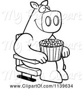 Swine Clipart of Cartoon Black and White Happy Pig with Popcorn at the Movie Theater by Cory Thoman