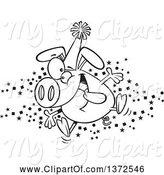 Swine Clipart of Cartoon Black and White Hyper Pig Wearing a Party Hat and Celebrating the New Year by Toonaday