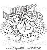 Swine Clipart of Cartoon Black and White Hyper Pig Wearing a Party Hat and Jumping over a Happy New Year Greeting by Toonaday