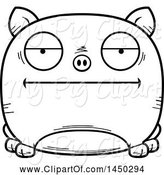 Swine Clipart of Cartoon Black and White Lineart Bored Pig Character Mascot by Cory Thoman