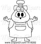 Swine Clipart of Cartoon Black and White Lineart Careless Chef Pig Shrugging by Cory Thoman