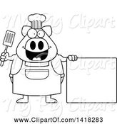 Swine Clipart of Cartoon Black and White Lineart Chef Pig Holding a Spatula by a Blank Sign by Cory Thoman