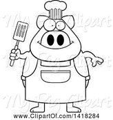 Swine Clipart of Cartoon Black and White Lineart Chef Pig Holding a Spatula by Cory Thoman