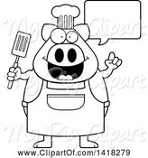 Swine Clipart of Cartoon Black and White Lineart Chef Pig Talking and Holding a Spatula by Cory Thoman