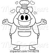 Swine Clipart of Cartoon Black and White Lineart Chef Pig Wanting a Hug by Cory Thoman