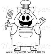 Swine Clipart of Cartoon Black and White Lineart Chef Pig Waving and Holding a Spatula by Cory Thoman