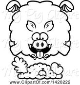 Swine Clipart of Cartoon Black and White Lineart Chubby Boar Flying and Eating by Cory Thoman