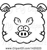 Swine Clipart of Cartoon Black and White Lineart Chubby Boar Flying by Cory Thoman