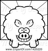 Swine Clipart of Cartoon Black and White Lineart Chubby Boar over Rays by Cory Thoman