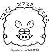 Swine Clipart of Cartoon Black and White Lineart Chubby Boar Sleeping by Cory Thoman
