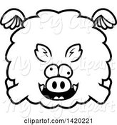 Swine Clipart of Cartoon Black and White Lineart Chubby Crazy Boar Flying by Cory Thoman