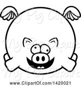 Swine Clipart of Cartoon Black and White Lineart Chubby Crazy Pig Flying by Cory Thoman