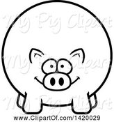 Swine Clipart of Cartoon Black and White Lineart Chubby Pig by Cory Thoman