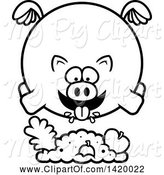 Swine Clipart of Cartoon Black and White Lineart Chubby Pig Flying and Eating by Cory Thoman