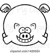 Swine Clipart of Cartoon Black and White Lineart Chubby Pig Flying by Cory Thoman