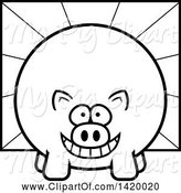 Swine Clipart of Cartoon Black and White Lineart Chubby Pig over Rays by Cory Thoman