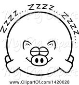 Swine Clipart of Cartoon Black and White Lineart Chubby Pig Sleeping by Cory Thoman