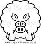 Swine Clipart of Cartoon Black and White Lineart Depressed Chubby Boar by Cory Thoman