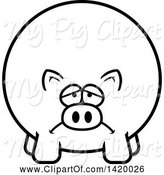 Swine Clipart of Cartoon Black and White Lineart Depressed Chubby Pig by Cory Thoman