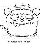Swine Clipart of Cartoon Black and White Lineart Drunk Boar Character Mascot by Cory Thoman