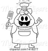 Swine Clipart of Cartoon Black and White Lineart Drunk Chef Pig Holding a Spatula by Cory Thoman